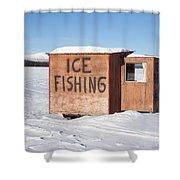 Ice Fishing Hut Shower Curtain