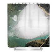 Ice Floats In Shallow Lake With Rock Reflections Shower Curtain