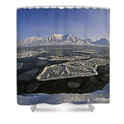 Ice Floes And Mountains Svalbard Norway Shower Curtain