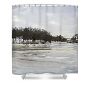 Ice On The Ipswich River Shower Curtain