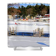Planes On The Ice Runway In New Hampshire Shower Curtain