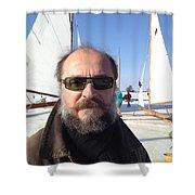 Ice Sailing On The Hudson Beard Contest Shower Curtain