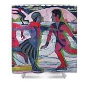 Ice Skaters  Shower Curtain by Ernst Ludwig Kirchner