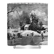 Ice Skating, 1880 Shower Curtain
