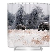 Ice Storm And Hay Bales In The Blue Rdige Mountains Shower Curtain