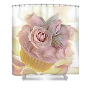 Iced Cup Cake With Sugared Pink Roses Shower Curtain