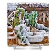 Iced Swann Fountain Shower Curtain