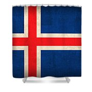 Iceland Flag Vintage Distressed Finish Shower Curtain by Design Turnpike