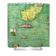 Iceland, From An Atlas Of The World In 33 Maps, Venice, 1st September 1553 Shower Curtain