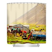 come see me at the Icelandic engine park Shower Curtain