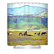 the Icelandic summer scene contains almost everything  Shower Curtain
