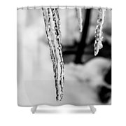 Icicle Black And White Shower Curtain