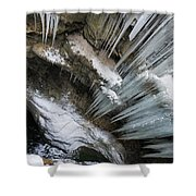 Icicles Hanging In Rocky Gorge In Cold Winter Shower Curtain