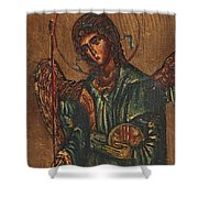 Icon Of Archangel Michael - Painting On The Wood Shower Curtain