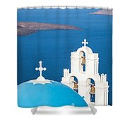 Iconic Blue Cupola Overlooking The Sea Santorini Greece Shower Curtain by Matteo Colombo