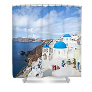 Iconic Blue Domed Churches In Oia Santorini Greece Shower Curtain by Matteo Colombo