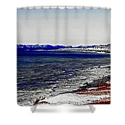 Icy Cold Seascape Digital Painting Shower Curtain