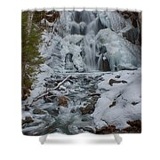 Icy Flow Of Water Shower Curtain
