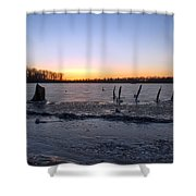 Icy Lake Sunset Shower Curtain