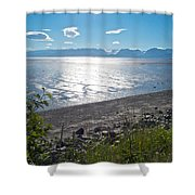 Icy-looking Kachemak Bay In Sunlight From Homer Spit-ak  Shower Curtain