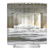 Icy Mississippi Bridge Shower Curtain