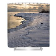 Icy Patterns On The Snow - A Lake Shore Morning Shower Curtain