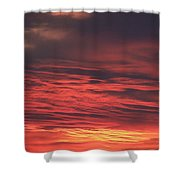 Icy Red Sky Shower Curtain