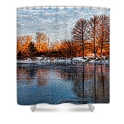 Icy Reflections At Sunrise - Lake Ontario Impressions Shower Curtain