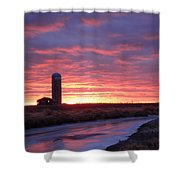 Icy River Sunset Shower Curtain
