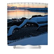 Icy Snowy Winter Sunrise On The Lake Shower Curtain