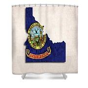 Idaho Map Art With Flag Design Shower Curtain