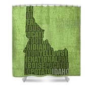 Idaho State Word Art Map On Canvas Shower Curtain