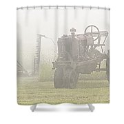 Idle Tractor In Fog Shower Curtain
