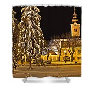 Idylic Winter Cityscape Evening In Snow Shower Curtain