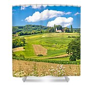Idyllic Agricultural Landscape Panoramic View Shower Curtain
