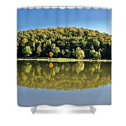 Idyllic Autumn Reflections On Lake Surface Shower Curtain