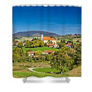 Idyllic Green Nature Of Croatian Village Of Glogovnica Shower Curtain