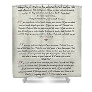 If By Rudyard Kipling Typography On Parchment Shower Curtain