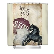 If What? Shower Curtain