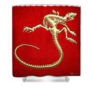 Iguana Skeleton In Gold On Red  Shower Curtain