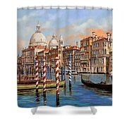 Il Canal Grande Shower Curtain by Guido Borelli