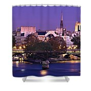 Ile De La Cite And Pont Des Arts / Paris Shower Curtain by Barry O Carroll