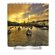 Ilfracombe Harbour At Dusk  Shower Curtain