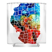 Illinois - Map Counties By Sharon Cummings Shower Curtain