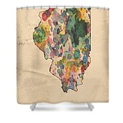 Illinois Map Vintage Watercolor Shower Curtain