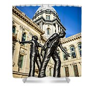 Illinois Police Officers Memorial In Springfield Shower Curtain by Paul Velgos
