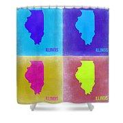 Illinois Pop Art Map 2 Shower Curtain