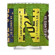 Illinois State Name License Plate Art Shower Curtain