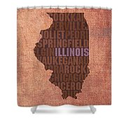 Illinois State Word Art On Canvas Shower Curtain
