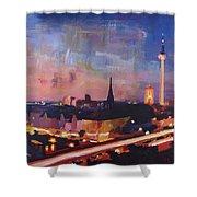 Illuminated Berlin Skyline At Dusk  Shower Curtain